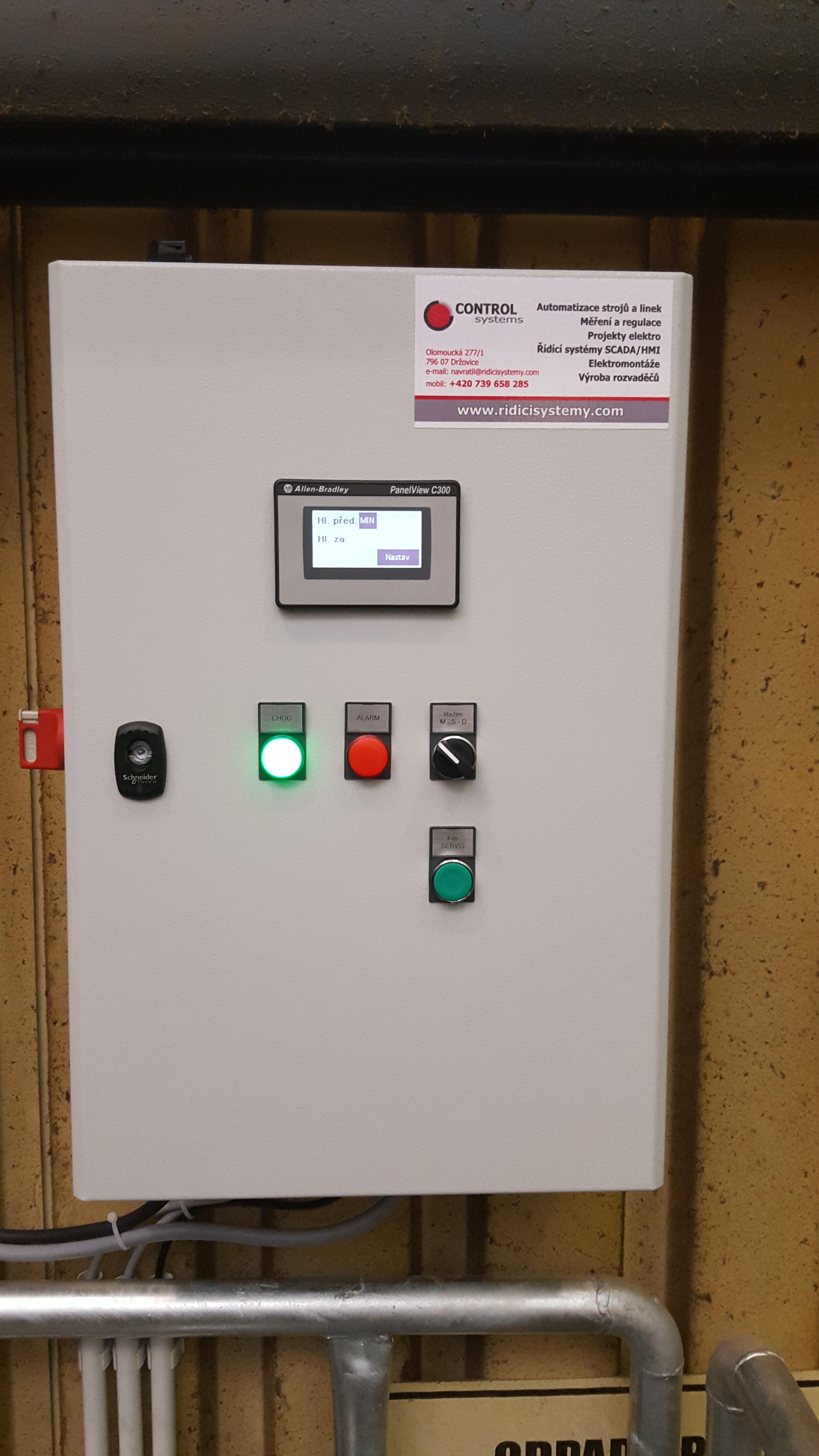 INKOS CZ s.r.o. - Kronospan, řízení filtrace vody